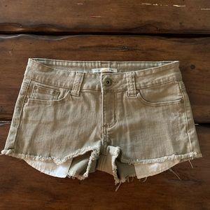 Tan khaki color denim shorts Forever21